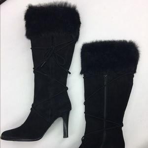 Coach Black Suede heeled boots 7.5